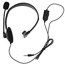 Black 3.5mm Single Earpiece Stereo Headphone Earphone with Microphone Volume Control for PS4