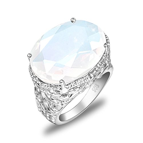 Artistic Oval Shape Fire Moonstone Gems Silver Plated Rings