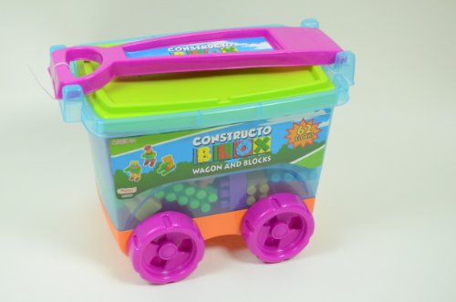 62 Toy Blocks in Pull Along Wagon