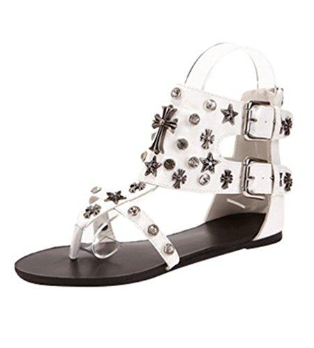 NiSeng Mujer T-Strap Clip Toe Sandalias Roma Rhinestone Del Remache Sandalias Hebilla Del Cinturón Peep Toe Sandalias Blanco