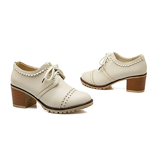 VogueZone009 Women's PU Kitten-Heels Round-Toe Solid Lace-up Pumps-Shoes Beige 17WaBcw