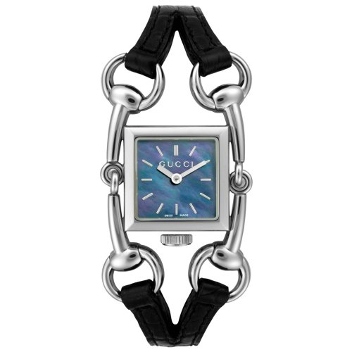 GUCCI Women's YA116503 Signoria Collection Black Leather Watch
