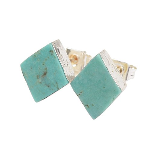JAB 1 Pair Diamond Silver Plated Natural Turquoise Post Stud Earrings Jewelry S1321