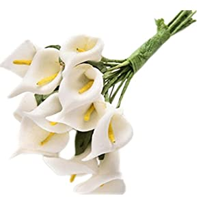 Freedi 12 lots of Mini Artificial Calla Lily Bridal Wedding Latex Real Touch Artificial Flower Home Party Offices Restaurants Decoration 63