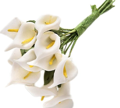 Freedi 12 lots of Mini Artificial Calla Lily Bridal Wedding Latex Real Touch Artificial Flower Home Party Offices Restaurants Decoration (White)