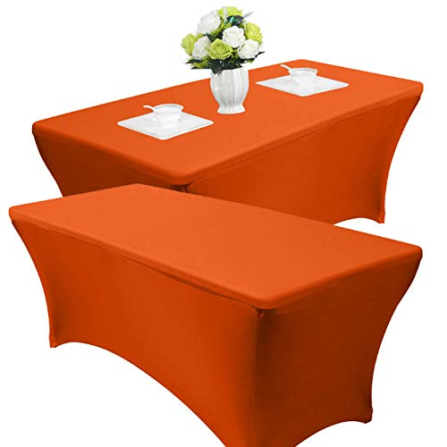 Reliancer 2 Pack 4\6\8FT Rectangular Spandex Table Cover Four-Way Tight Fitted Stretch Tablecloth Table Cloth for Outdoor Party DJ Tradeshows Banquet Vendors Weddings Celebrations(8FT(2PC),Orange) -