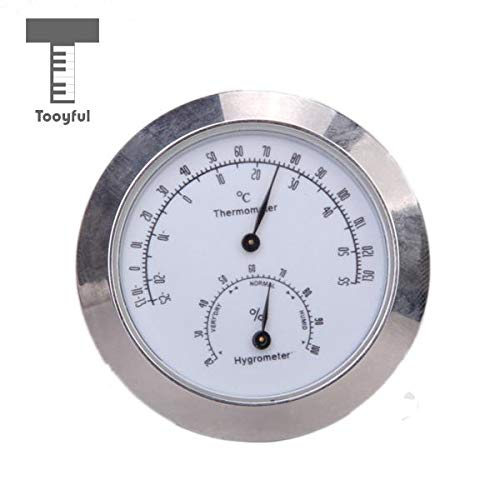 Value-5-Star Alloy Silver Round Moisture Thermometer Hygrometer Case Guitar Violin Bass Mini Useful Portable Accessory