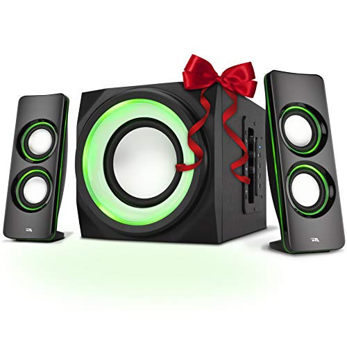 Ipod 2.1 Audio System - Cyber Acoustics Bluetooth Speakers with LED Lights – The Perfect Gaming, Movie, Party, Multimedia 2.1 Subwoofer Speaker System (CA-SP34BT)