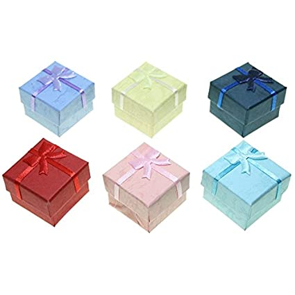 CHRISTIAN GAR Pack de 48 Cajas de cartón para joyería Surtidas en 6 Colores - Anillo