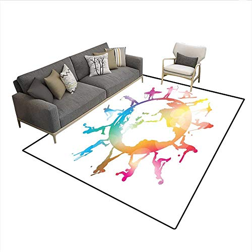 Floor Mat,Golf Football Baseball Archery Basketball Players On Globe Picture,Area Carpet,Pink Orange Pale Blue 6'6