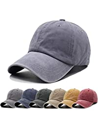 a0f8a28df2c05 Men Women Baseball Cap Vintage Cotton Washed Distressed Hats Twill Plain  Adjustable Dad-Hat