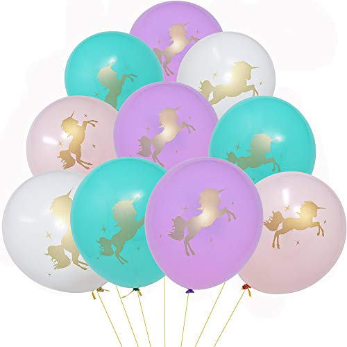 36 Unicorn Balloons Decorations 12 Latex Balloons with Printed Gold Unicorns for Birthday Party Supplies