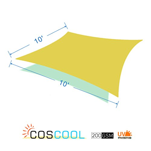 Clearance, CosCool Sun Shade Sail Rectangle Fabric Patio Shade Sails Canopy 200gsm HDPE Material UV Block 5 Years Warranty, Size 10x10 Feet