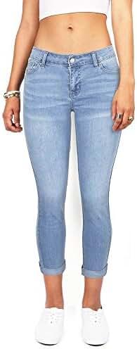 Wax Women's Juniors Mid-Rise Capri Jeans w Stretch
