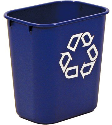 Large Deskside Blue Recycle Trash Cans (41-1/4 Qt.) (1 Bi...
