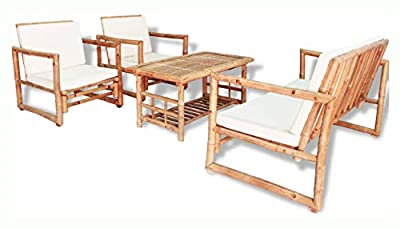 K&A Company Outdoor Furniture Set, 4 Piece Garden Lounge Set with Cushions Bamboo