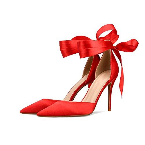 cava alti sandali fresche ZHANGYUSEN punta Red fine sandali estate talloni e 2018 6cm seta Nuova tacchi a piccoli qqZvPwt
