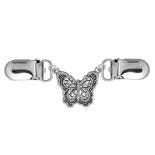 Brooch Butterfly Dress (Beautyflier 4.1In Sweater Collar Clips-Crosshatch Design-SilverTone-Cardigan-Dress-Blouse for Women Girls (Butterfly))