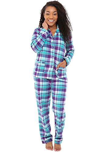 Alexander Del Rossa Womens Fleece Pajamas, Long Button Down Pj Set, XS Purple and Teal Plaid (A0324P69XS)