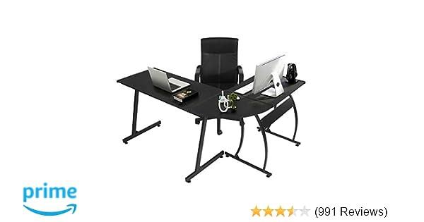 Amazon.com: GreenForest L Shape Corner Computer Office Desk PC Laptop Table  Workstation Home Office 3 Piece,Black: Kitchen U0026 Dining