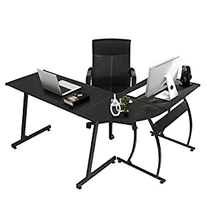 "GreenForest L-Shaped Corner Desk 58.1"",Computer Gaming Desk PC Table,Home Office Writing Workstation 3-Piece,Black"