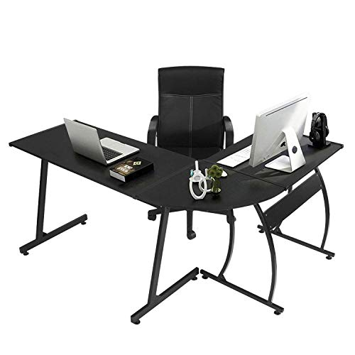 GreenForest LShape Corner Computer Office Desk PC Laptop Table Workstation Home Office 3PieceBlack