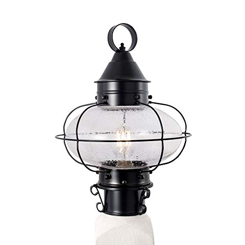 (Norwell Lighting 1321-BL-SE Cottage Onion - One Light Outdoor Medium Post Mount, Black Finish with Seedy Glass)