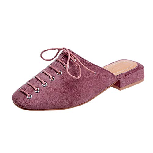 Style Tête Plat De Carré À Ville Mode Sauvage Plates Pantoufles Sandales up Été yesmile Pink Femme Chaussures Dames Lace 0xwOnTH