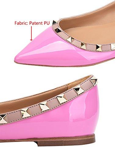 Slip Pointy Classic PU Toe Flats Patant Dress Pumps Women's Shoes Comfort On purple Rivets A6IqEng