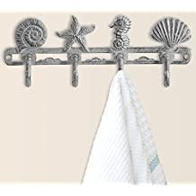 Vintage Seashell Coat Hook Hanger by Comfify | Rustic Cast Iron Wall Hanger w/ 4 Decorative Hooks | Includes Screws and Anchors | in Antique White | (Seashell Wall Hanger CA-1507-03)