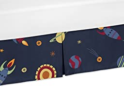 Sweet Jojo Designs Rocket Ship Planets Crib Bed Skirt Dust Ruffle for Space Galaxy Collection Bedding Sets