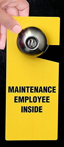 Maintenance Employee Inside, PVC Vinyl Door Hanger, Claw Shaped Tag, 6 Tags / Pack, 8.875'' x 3.75''