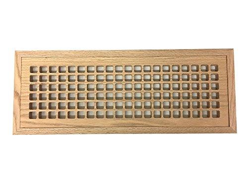 6 Inch x 20 Inch White Oak Hardwood Vent Floor Register Flush Mount with Frame, Eggcrate Style, Unfinished
