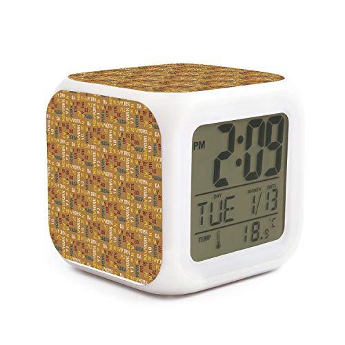 New York Jets Desk Clock - JWOJJUAW Wake Up New York Design in Yellow Dimmer Snooze LED Nightlight Bedroom Desk Travel Digital Bell Alarm Clock for Kids Girls