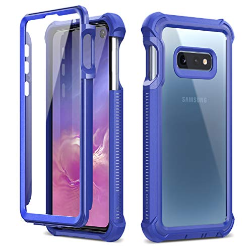 Dexnor Compatible Samsung Galaxy S10E Case with Screen Protector Slim Design with Front Frame Clear Rugged Protective Shockproof Hard Defender Bumper Cover for Boys/Men - - Hard Design Protector Case
