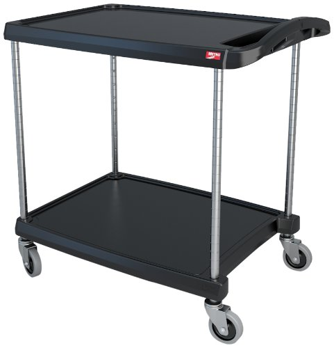 InterMetro Industries MY2030-24BL Mycart Series Black Polymer Utility Cart, 2 Shelf, 35.38 X 34.38 X 23.5-Inch