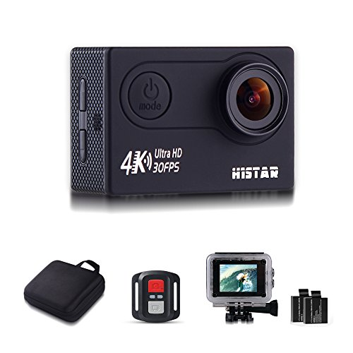 H9R Action Video Camera 4K Wifi Waterproof Sports Camera Full HD 4k 30fps 1080P 60fps 720p120fps Ultra HD Camera 16MP Photo and 170 Wide Angle Lens 2 Rechargeable 1050mAh Batteries Black
