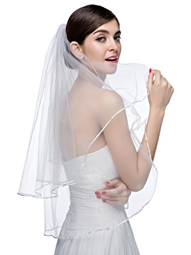 Edith qi Hot White Ivory Bridal Veils Two Layer Ribbon Edge Wedding Veil with (2 Layer Elbow)