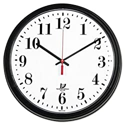 Wall Contract Clock,13-3/4 quot;,White Dial,Clear Crystal,Black