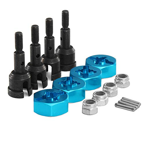 (Racing Wheels Hex Hub Convert Adapter Axle Shaft Locknuts Conversion Set For RC 1/18 Wltoys A959 A969 A979)