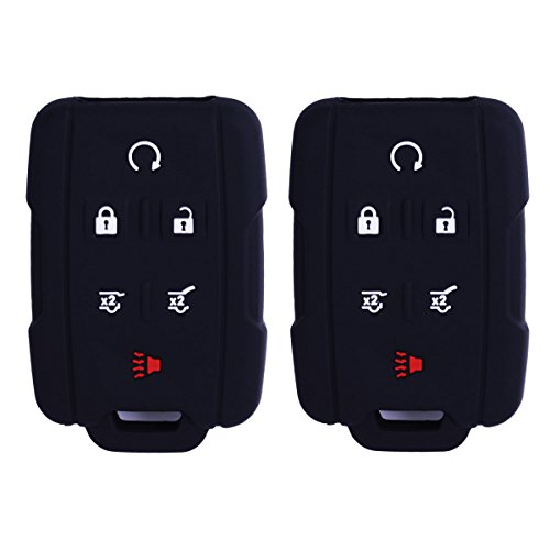 2Pcs WERFDSR Sillicone key fob Skin key Cover Remote Case Protector Shell for 2015 2016 Chevrolet Suburban Tahoe GMC Yukon Smart Remote black