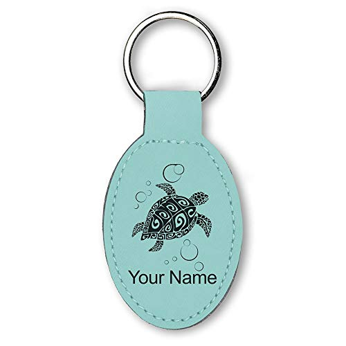 Oval Keychain, Hawaiian Sea Turtle, Personalized Engraving Included (Teal)