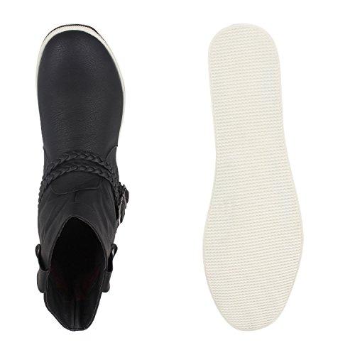 Stiefelparadies Damen Stiefeletten Sportliche Schlupfstiefel Leder-Optik Schuhe Flache Booties Schnallen Stiefel Boots Geflochtene Schnur Flandell Schwarz