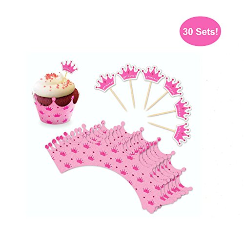 Cupcake Toppers and Wrappers for Girl Birthday – Crown Tiara Princess Party Cupcake Wrappers With Picks - Cupcake Kit – Cute Girl Party Supplies, Pink - NO Assembly Required – Set of 30 (Princess)