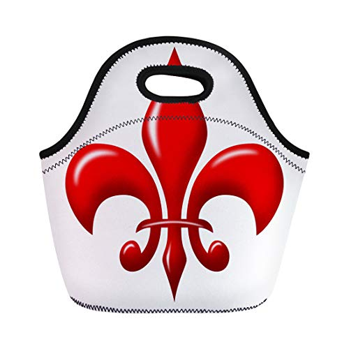 Semtomn Lunch Tote Bag French Red Shiny Fleur De Lis Vintage Antique Artistic Reusable Neoprene Insulated Thermal Outdoor Picnic Lunchbox for Men Women