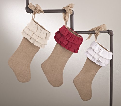 Holiday Décor Ruffle Design Jute Christmas Stocking, One Piece (natural ruffles)