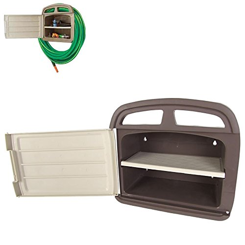 Heavy Duty Wall Mounted Hose Holder with Storage Compartment – Fittings for Hosepipe. Hose Garden Hose Holder Spetebo