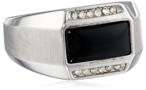 r Onyx and Diamond (0.13cttw, J-K Color, I2-I3 Clarity) Ring, Size 10 ()