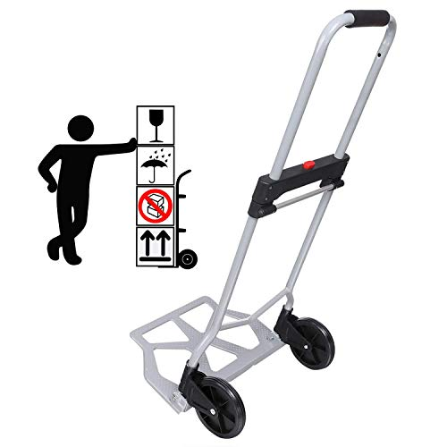 (220lb Heavy Duty Folding Hand Truck & Dolly, Assisted Hand Truck Luggage Cart with 2 Wheels-Black)