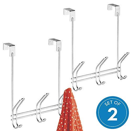 InterDesign Classico Over-The- Door Rack, Towel Coat Hooks-Set of 2, Chrome